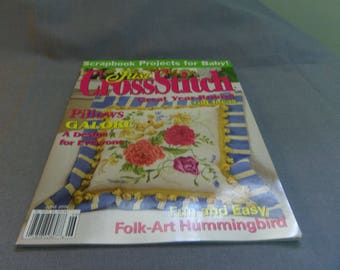 Just Cross Stitch Magazine back issue June 2006, Baby Projects, Pillows, Hummingbird, Sampler, Floral etc.