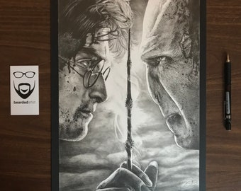 """11x17"""" Framed Original Graphite Drawing of Harry Potter and Voldemort"""