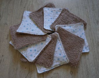 10 wipes sponge flannel, Brown and stars