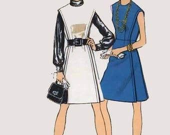 Vintage 1960 Womens MadMen Dress or Jumper Sewing Pattern Vogue 7542 60s Pattern Size 12 Bust 34