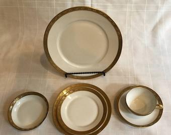 1920's France LIMOGES Superieur BOURBON 24k GOLD 6-Piece Dinnerware Set