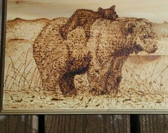 Grizzly and cub pyrography, woodburning