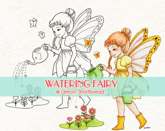 Digital Stamp Watering Flowers Fairy, Digi Download, Fantasy Butterfly Floral, Garden, Clip Art, Scrapbooking Supplies, Coloring Page