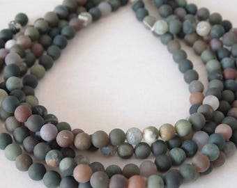 Strand Gemstone Indian Agate Frosted Beads Multi Colour Size 8mm Quantity 45 Beads