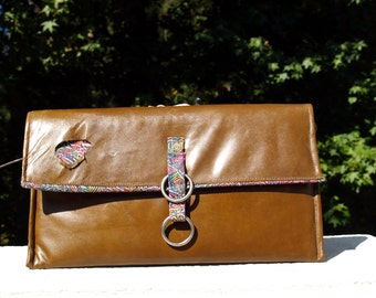 "SALE Distressed Brown Leather ""Hole in One"" Clutch Handbag Purse"
