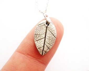 Tiny Fine Silver Leaf Necklace - .999 fine silver jewelry - Nature Necklace - Delicate Silver Leaf Charm - ValenwoodVixen - Ready to Ship