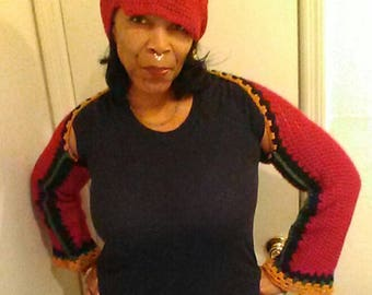 My crocheted shrug with matching hat
