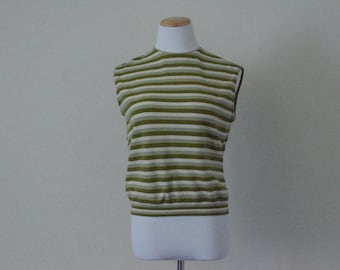 FREE usa SHIPPING vintage women's 1970's  striped blouse polyester top retro groovy hipster preppy ILGWU Union Made nylon Sears Size M