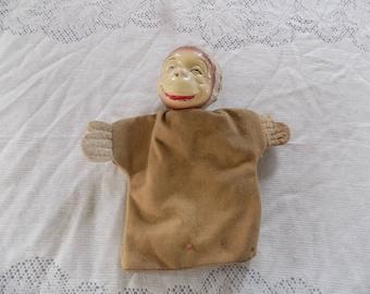 Vintage Wooden Composite Monkey Hand Puppet