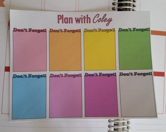 Don't Forget full box stickers for Erin Condren life planner!