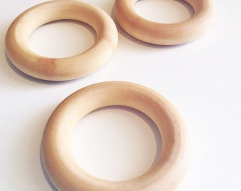 "Wooden Teething Ring, Compliant 2.5"" Maple Teething Ring, Wooden Teether, Waldorf Toy - Single Ring"