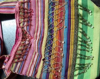 Cotton molticolor Hobo Bag,  beads and sequined, Shoulder Bag, Bohemian Hanging Bag