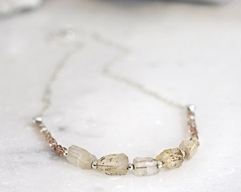 Raw Topaz Necklace - Rough Gemstone Necklace - November Birthstone -Topaz Jewellery - Natural Stone Necklace