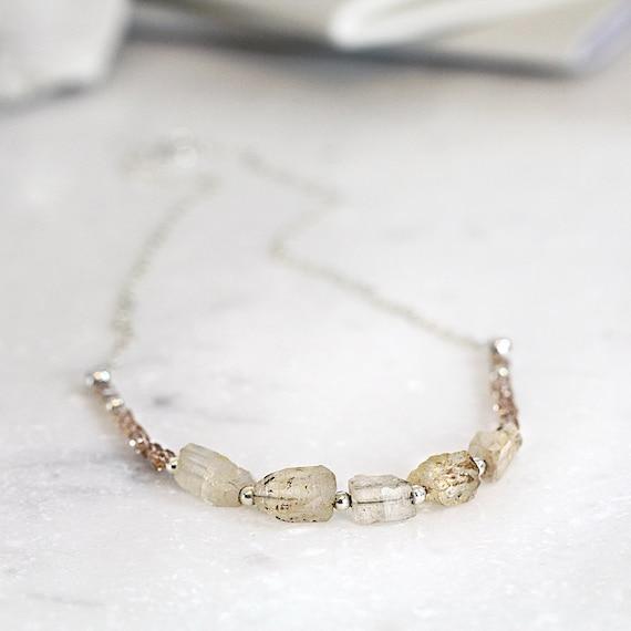 Raw Topaz Necklace - Rough Gemstone Necklace