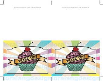 DIY Printable Rainbow Cupcake Thank You Cards INSTANT DOWNLOAD