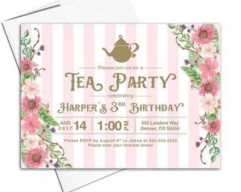 Girls tea party invitations, third 3rd birthday invitations for girls, three 3 year old birthday girl, printable or printed - WLP00311