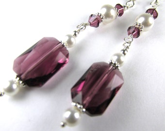 Swarovski Purple Amethyst Faceted Rectangles and White Pearl Sterling Silver Earrings