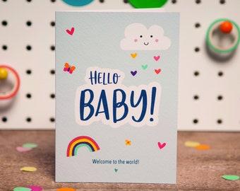Cute New Baby BOY Card | Hello Baby! Card | Cute Cloud and Rainbow Card