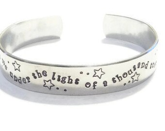 Kiss me under the light of a thousand stars - Valentines - Valentine's Day Gift- Ed Sheeran jewelry - Lyric Jewelry - Celestial bracelet