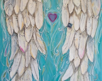 Angelwings Print of my original Painting called THE KISS 11x14