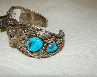 NA 3-O Sterling, Turquoise & Coral NA Watch Bracelet