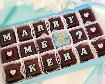 Marriage Proposal Chocolates and Ring - Marry Me Chocolates - Personalized Marriage Proposal - Will You Marry Me Chocolate - Unique Proposal