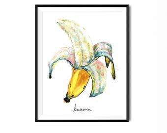 Bananas Print, Banana Painting, Fruit Print, Food Art, Food Illustration, Home Decor, Kitchen Decor, Kitchen Print, Banana Art, Kitchen Art
