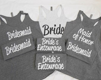 7 Eco Bridesmaid Tank Tops. 7 Bridesmaid Tanks. Bachelorette Party Tanks. Bridal Party Tanks. Eco Flowy Racerback Tank. Bridal Party Tanks.
