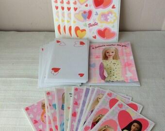 Lot de cartes postales avec enveloppes et autocollants, Barbie Valentine, neuf, en bon état