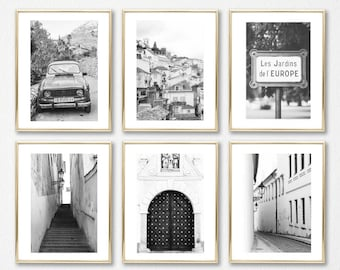 Black and White Prints // Gallery Wall Art // Fine Art For Her // Wall Decor // Set of 6 Prints // Europe Prints // Wall Art Set