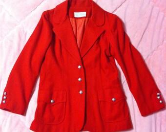 1970s Vintage Red Wool Coat, 70s Vintage ILGWU Red Wool Blazer Coat, Vintage Red Blazer Coat, Vintage Red Coat, Wool Blazer Coat