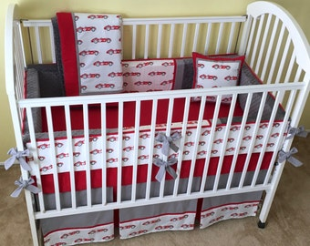 VINTAGE RACE CARS 4PC Baby Crib Bedding Set / Baby Boy Crib Bedding Set - Includes Bumper Pad, Crib Skirt, Blanket and Accent Pillow