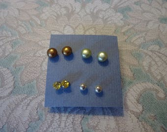 Lot of 4 Pair 925 Sterling Silver Pierced Stud Post Earrings, Freshwater Pearls, Canary CZ, Sterling Balls