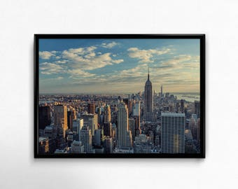 New York Skyline Print, City Skyscrapers Wall Art, Manhattan Photography, NYC Photo, Cityscape Poster, Empire State Building