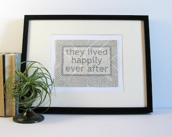 they lived happily ever after - Original Drawing on Paper Collage - Fairytale Ending Quote Wall Art - Book Paper Art - Black and White Art