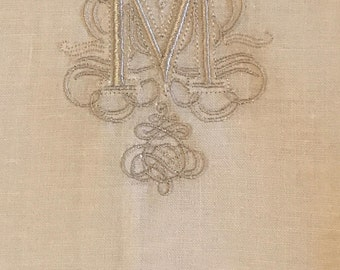 "Embroidered ""M"" Monogram Guest Towels with Hem stitch Border"