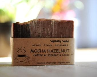 HAZELNUT MOCHA - Organic Soap, Moisturising Soap, Exfoliating Soap, Cocoa Butter Soap, Chocolate Soap, Hazelnut Oil Soap, Coffee Soap