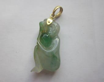 Vintage 18K Jadeite Monkey Pendant
