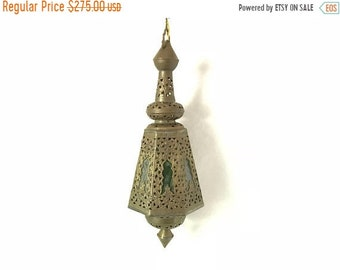 ON SALE Vintage Mid Century Moroccan Style Brass Glass Hanging Lamp
