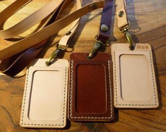 Leather ID holder / ID lanyard / ID badge / id pass holder / name card holder, hand stitched, 2 id windows, free monogram