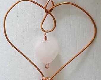 Rose quartz Copper Pendant