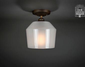 Flush Ceiling Mount | Semi-Flush | Edison Bulb Light Fixture | Oil Rubbed Bronze | Milk Funnel Shade