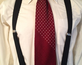 1970s Red Wide Polyester Tie - Double Knit Polyester - Textured - Patterned - from Damon