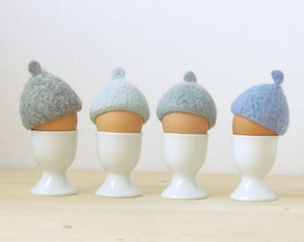 Easter table decor / Egg cozy for Easter - pastel blue - felted acorn cap - Set of four - House warming gift