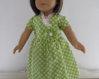Green Print Wrap Dress with Headband and Shoes for the American Girl Doll