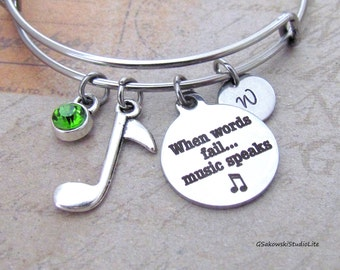 When words fail music speaks Music Note Charm Bangle Personalized Hand Stamped Initial Birthstone Stainless Steel Expandable  Bracelet