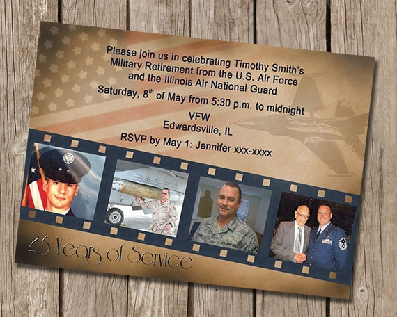 vintage military retirement party invitation