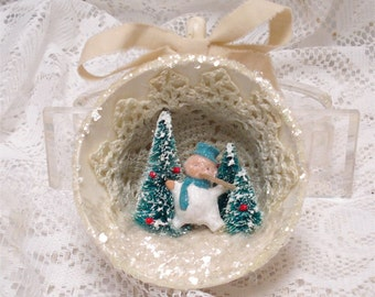 Shabby Chic Tea Cup Ornament Teal Snowman Bottle brush Tree