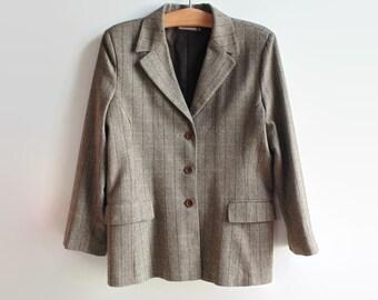 Tweed Blazer Brown Herringbone Women 90s Clothes Vintage Clothing, Size 16 USA, Womens Outwear Fall Casual Jacket Smart Elegant Lady Blazer