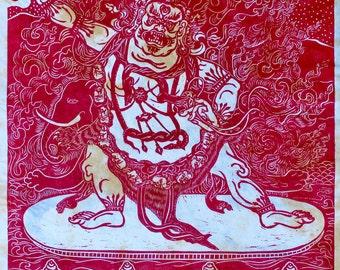 VajraPani dharma protector, thangka art Buddhism Buddhist art Buddhist artist mokuhanga woodblock, faithstoneart, printmaking, mokuhanga art